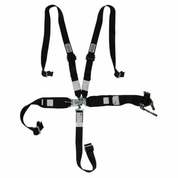 Hooker Harness - Hooker Harness 5-Point Harness System - HANS Compatible - Left Lap Belt Upside Down Ratchet Adjust - Black