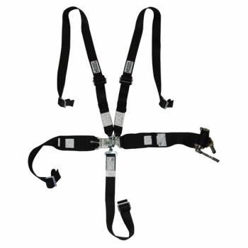 Hooker Harness - Hooker Harness 5-Point Harness System - Left Lap Belt Upside Down Ratchet Adjust - Black
