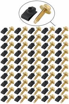 Allstar Performance - Allstar Performance Body Bolt Kit - Gold Bolts/Black Clips (50 Pack)
