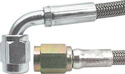"Allstar Performance - Allstar Performance 42"" #3 Braided Stainless Steel Line w/ -3 Straight End / -3 90° End"