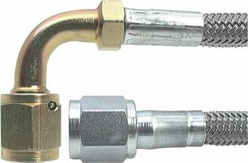 "Allstar Performance - Allstar Performance 12"" #4 Braided Stainless Steel Line w/ -4 Straight End / -4 90° End"