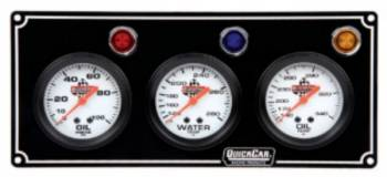 QuickCar Racing Products - QuickCar 3 Gauge Panel Assembly w/ Warning Lights - OP/WT/OT