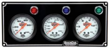 QuickCar Racing Products - QuickCar 3 Gauge Panel Assembly w/ Warning Lights - OP/WT/FP