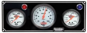"QuickCar Racing Products - QuickCar 2-1 Gauge Panel w/ 3-3/8"" Tach- OP/WT"