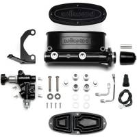 "Wilwood Master Cylinders - Tandem Chamber - Wilwood Engineering - Wilwood Aluminum Tandem Master Cylinder Kit w/ Bracket and Proportioning Valve - 1-1/8"" Bore - Black"