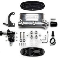 "Wilwood Master Cylinders - Tandem Chamber - Wilwood Engineering - Wilwood Aluminum Tandem Master Cylinder Kit w/ Bracket and Proportioning Valve - 7/8"" Bore - Polished"