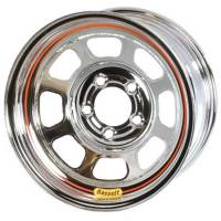 "Bassett Wheels - Bassett Armor Edge Dirt Wheels - Bassett Racing Wheels - Bassett D-Hole Lightweight Armor Edge Wheel - 15"" x 8"" - 5 x 5"" - Chrome - 2"" BS - 19 lbs."