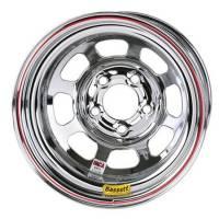 "Bassett IMCA D-Hole 15"" x 8"" - Bassett IMCA D-Hole 15"" x 8"" -5 x 5"" - Bassett Racing Wheels - Bassett IMCA D-Hole Wheel - Reverse Bell - 15"" x 8"" - 5 x 5"" - Chrome - 2"" Back Spacing - 19 lbs."