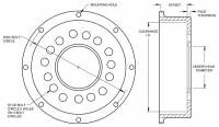 "Wilwood Engineering - Wilwood Drag Hat - Standard - Ford / Mopar - 8 x 7.00"" Bolt Circle - 1.59"" Offset - Image 3"