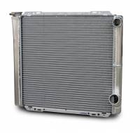"Cooling & Heating - AFCO Racing Products - AFCO Aluminum Double Pass Radiator - 19"" x 22"" - Inlet 1-1/2"" Right, Outlet 1-3/4"" Right"