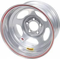 "Bassett IMCA Inertia 15"" x 8"" - Bassett IMCA Inertia 15"" x 8"" -5 x 5"" - Bassett Racing Wheels - Bassett IMCA Inertia Wheel - 15"" x 8"" - 5 x 5"" - Silver - 2"" Back Spacing - 19 lbs."
