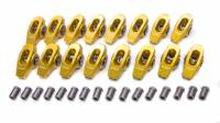 "Rocker Arms - Aluminum Roller Rocker Arms - SB Ford - Crane Cams - Crane Cams Gold Aluminum Race Rocker Arm Set - Ford 302-351C Boss, 429/460 Ford - 1.73 Ratio, 7/16"" Rocker Arm Stud"
