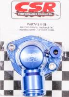 "CSR Performance Products - CSR Performance 360° Swivel Thermostat Housing - SB Ford - 1-1/4"" Hose Connection Blue"