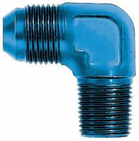 "90° Male Pipe Thread to Male AN - 90° Male NPT to Male AN - Blue - Aeroquip - Aeroquip Aluminum 90° -06 AN to 1/4"" NPT Adapter"