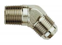 "Pipe Thread to AN Adapters - 45° Male Pipe Thread to Male AN - Aeroquip - Aeroquip Aluminum -06 Male AN to 1/4"" NPT 45° Adapter - Nickel Plated"