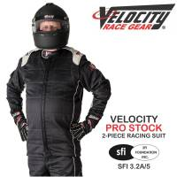 Crew Apparel - Crew Mechanics Suits - Velocity Race Gear - Velocity Pro Stock 2-Piece Race Suit 2016 - Black/Silver
