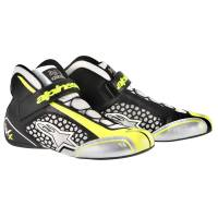 Racing Shoes - Kart Racing Shoes - Alpinestars - Alpinestars Tech 1-KX Karting Shoe - White/Black/Yellow Fluo - Size 10.5