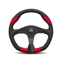 Street Performance / Tuner Steering Wheels - Momo Steering Wheels - Momo - Momo Quark Steering Wheel Polyurethane - Red Insert