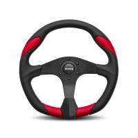 Street Performance / Tuner Steering Wheels - Momo Tuner Steering Wheels - Momo - Momo Quark Steering Wheel Polyurethane - Red Insert