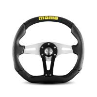 Street Performance / Tuner Steering Wheels - Momo Tuner Steering Wheels - Momo - Momo Trek Steering Wheel - Black Leather/Airleather