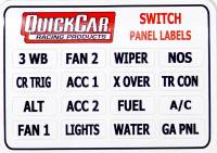 Switch Panels and Components - Switch Panel Labels - QuickCar Racing Products - QuickCar Switch / Ignition Panel Stickers