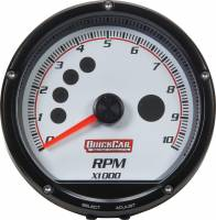 Memory Tachometers - In-Dash Memory Tachs - QuickCar Racing Products - QuickCar Redline Multi-Recall Tach White
