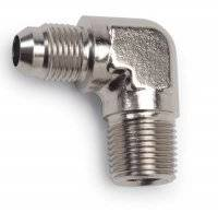 Pipe Thread to AN Adapters - 90° Male Pipe Thread to Male AN - 90° Male NPT to Male AN - Nickel Plated