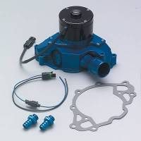 Water Pumps - Electric - Small Block Ford Electric Water Pumps - Meziere Enterprises - Meziere SB Ford Billet Electric Water Pump - Hi-Flow - Blue