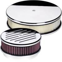 Air & Fuel System - Billet Specialties - Billet Specialties Polished Round Air Cleaner Assembly - 6 3/8 in. Diameter - Plain Design - 2 in. Filter Height