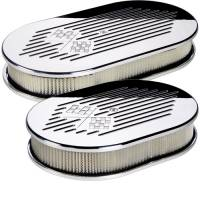 Air & Fuel System - Billet Specialties - Billet Specialties Large Oval Flag Air Cleaner Assembly - Polished - Checkered Flag Logo Design - 2 in. Filter Height