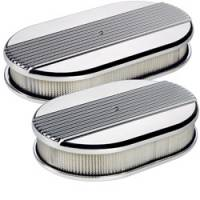 Air & Fuel System - Billet Specialties - Billet Specialties Small Oval Air Cleaner Assembly - Polished - Ribbed Design - 2 in. Filter Height