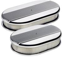Air & Fuel System - Billet Specialties - Billet Specialties Large Oval Air Cleaner Assembly - Polished - Ribbed Design - 2 in. Filter Height