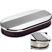 Air & Fuel System - Billet Specialties - Billet Specialties Large Oval Dual Quad Air Cleaner Assembly - Polished - Ribbed Design - 2 1/4 in. Filter Height