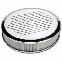 Air & Fuel System - Billet Specialties - Billet Specialties Round Air Cleaner Assembly - 14 in. Diameter - Polished - Ball-Milled Design - 3 in. Filter Height