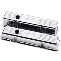 Valve Covers & Accessories - Aluminum Valve Covers - SB Chevy - Billet Specialties - Billet Specialties Polished SB Chevy Tall Valve Covers - Cross Flags Logo - SB Chevy - (Set of 2)