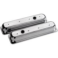 Valve Covers & Accessories - Aluminum Valve Covers - SB Chevy - Billet Specialties - Billet Specialties SB Chevy Centerbolt Stock Height Valve Covers - Ball-Milled Logo - SB Chevy - (Set of 2)