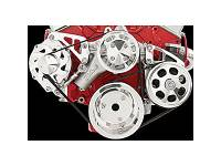 Pulley Kits - Serpentine Belt Pulley Kits - Billet Specialties - Billet Specialties SB Chevy Mid Mount Alternator & Power Steering Kit