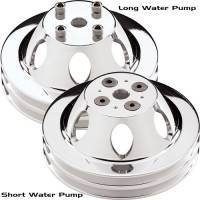 Water Pump Pulleys - V-Belt Water Pump Pulleys - Billet Specialties - Billet Specialties Polished SB Chevy Double Groove Water Pump Pulley - SB Chevy - Short Water Pump