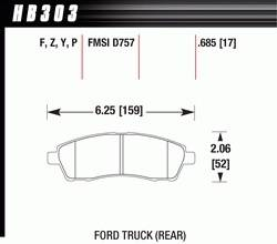 Disc Brake Pads - Brake Pad Sets - Truck - 1999-2005 Ford F-250/350 Truck D757 Pads (D757)