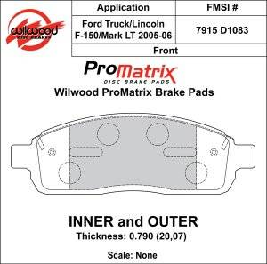 Disc Brake Pads - Brake Pad Sets - Truck - 2004-08 Ford Truck D1083 Pads (D1083)