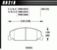 Brake Pad Sets - Street Performance - 1989-2000 Honda D273 Pads (D273) - Hawk Performance - Hawk Disc Brake Pads - HP Plus w/ 0.583 Thickness