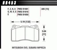 Brake Pad Sets - Street Performance - 2010-12 Camaro/G8/GXP/STS/CTS / 2007-11 Mustang GT D1001 Pads (D1001) - Hawk Performance - Hawk Disc Brake Pads - Performance Ceramic w/ 0.585 Thickness