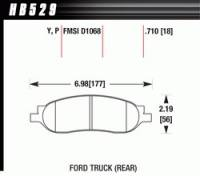 Brake Pad Sets - Truck - 2005-07 Ford Super Duty Truck D1068 Pads (D1068) - Hawk Performance - Hawk Disc Brake Pads - SuperDuty w/ 0.710 Thickness