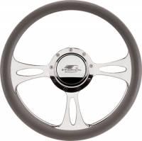 Billet Specialties Steering Wheels - Billet Specialties Billet Steering Wheels - Billet Specialties - Billet Specialties Half Wrap Steering Wheel - Fast Lane - Polished - 3-Spoke - 14 in. Diameter