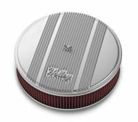 """Air Cleaners and Intakes - Air Cleaner Assemblies - Holley Performance Products - Holley 14""""x3"""" Round Finned Air Cleaner - Premium Element - Polished"""