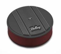 """Air Cleaners and Intakes - Air Cleaner Assemblies - Holley Performance Products - Holley 14""""x4"""" Round Finned Air Cleaner - Premium Element - Black"""
