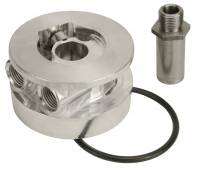 "Oil Filters Adapters & Mounts - Oil Filter Adapters - Derale Performance - Derale GM Thermostatic Sandwich Adapter with 1/2"" NPT Ports"
