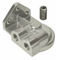 """Oil Filter Adapters and Components - Oil Filter Bypass Adapters - Derale Performance - Derale Single Left 3/8"""" NPT Port Filter Mount with 3/4""""-16 Filter Threads"""