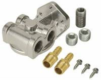 "Oil Filter Relocation Kits and Mounts - Remote Oil Filter Mounts - Derale Performance - Derale Single Side Ports 3/8"" NPT Filter Mount with 3/4""-16 Filter Threads"