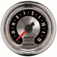 """Gauges - Pressure Gauges - Auto Meter - Auto Meter 2-1/16"""" American Muscle Boost Gauge -30"""" HG/15 PS"""